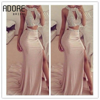 2017 luxury mermaid prom dress high split side with sparkly beaded halter 2 piece backless long for women pageant gowns