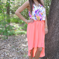 Garden Party Dress, Ivory/Neon Pink