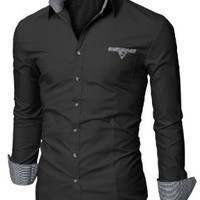 Doublju Mens Dress Shirt with Contrast Neck Band BLACK (US-M/ASIAN-L)