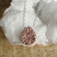 Rose Gold Druzy Necklace Titanium Drusy Quartz Sterling Silver