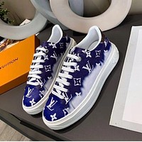 LV Louis vuitton time out stitching color letters ladies sneakers Shoes