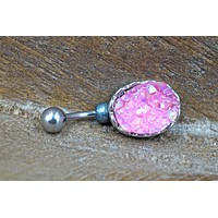 Pink Druzy Belly Button Ring