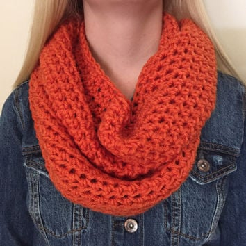 Chunky Infinity Scarf in Burnt Orange, Pumpkin, Thick Crochet Bulky Winter Scarf - Other colors available