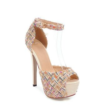 Women's High Heel Ankle Strap Nightclub Stiletto Heel Platform Sandals