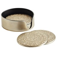 Embossed Coaster Set - Champagne