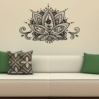 Lotus Flower Patterns Art Indian Design Wall Vinyl Decal Art Sticker Home Modern Stylish Interior Decor for Any Room Smooth and Flat Surfaces Housewares Murals Graphic Bedroom Living Room (2346)