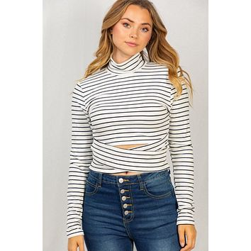 Chic Affair Cutout Cross Front White Striped Top