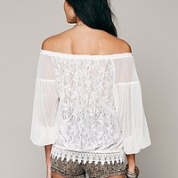Free People Womens Lace Banded Bottom Blouse
