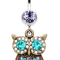 Bronze Owl Sparkle Belly Button Ring