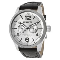 Invicta 13009 Men's I-Force Silver Textured Dial Black Leather Strap Watch