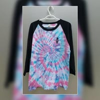 Pink Baseball Tee Top Shirt Tie Dye Spiral, Adult Size Large, Women's, Men's, Girl's, Boy's, Gift For Her, Gift For Him, Festival Fashion
