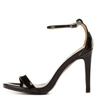 Black Qupid Single Sole Ankle Strap Heels by Qupid at Charlotte Russe