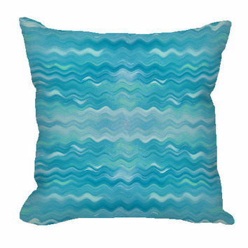 Wavy Pattern Throw Pillow in turquoise and ice blue