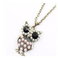Snowflake Shape Cute Owl Pendant Necklace For Women