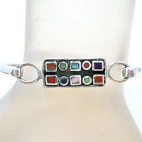Sterling Silver Turquoise Coral Lapis Bangle Bracelet