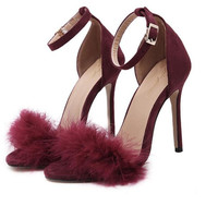 Black Pink Burgundy woman Spring Summer Concise Fashion Pumps woman Real Fur Feather Push Charm Sandals Bridesmaid Bridal Shoes