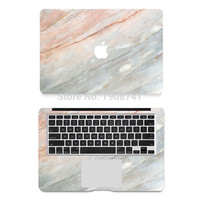 New Coral Marble Grain Full Body Cover Laptop Decal Stickers Case For Apple Macbook Air Pro Retina 11 13 15 Inch Protective Skin