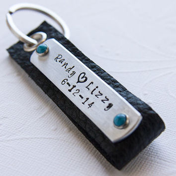 Mens Leather Keychain, Gift for Husband, Gift for Men, Gift for Boyfriend, Personalized Keychain