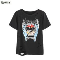 ROMWE Women Tops Womens T shirt Print T shirts Women Fashion 2017 Round Neck Short Sleeve Black Printed Ripped T-shirt