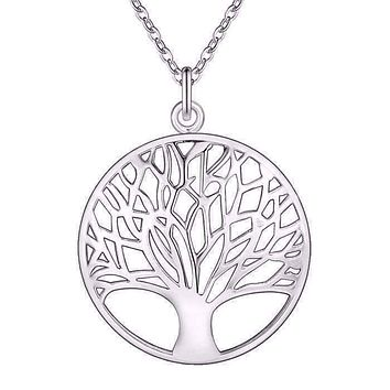 Tree of Life Silver Medallion Necklace For Woman