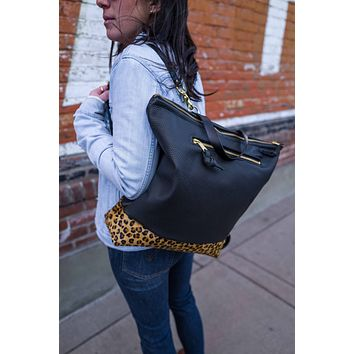 Rogue Backpack + Outsize pocket in Perforated Leather and Leopard