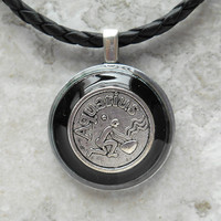 aquarius necklace: black - mens necklace - man jewelry - astrology - boyfriend gift - zodiac - birthday gift - leather cord - unique gift