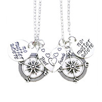 Best Friends No Matter Where Set of 2 BFF Charm Necklaces