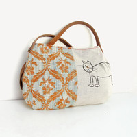 Story of a Cat and a Mouse - Purse with Linen and Leather (last one)