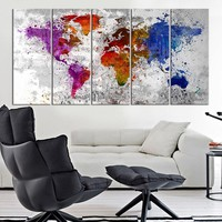 Canvas Art Print Splashed World Map on Old Wall , Large Wall Art World Map, Watercolor World Map Print, Blue World Map, Purple Map Canvas