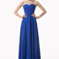 Blue Off-Shoulder Ruched Lace Up Back Chiffon Maxi Dress