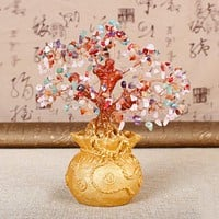7 Inch Tall Crystal Lucky Money Tree Feng Shui