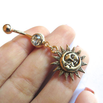 Golden Celestial Moon And Sun Belly Button Ring Navel Jewelry