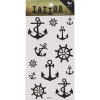 """MP Temporary Tattoo Fake Tattoo Sticker with Black Anchor and Helm Pattern Size 3.06""""X5.13"""" HM544 TDP 0616"""