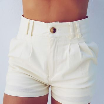 On Your Side Shorts: Beige