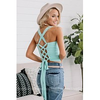 It Was Mint To Be Lace Up Crop Top
