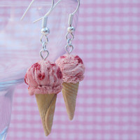 Strawberry Ice Cream Polymer Clay Earrings, Miniature Clay Dessert Food Jewelry, Hook Earrings