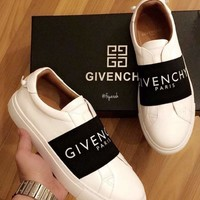 GIVENCHY Fashion Women Men Leisure Leather Sport Shoes Sneakers White/Black