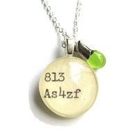 Sterling Silver Tulip Casing Olive Lime Green Drop Dewey Decimal Library Necklace