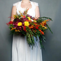 Natural wedding bouquet fall colors colorful sola flowers stabilized greenery Boho wedding Burgundy orange yellow red pepper tree bridal big