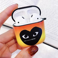 Comme Des Garçon Play Fashion Cute iPhone Airpods Headphone Case Wireless Bluetooth Headphone Protector Case(No Headphones) Gradient Orange