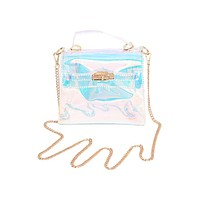 Clear Holographic Turn-Lock Bag