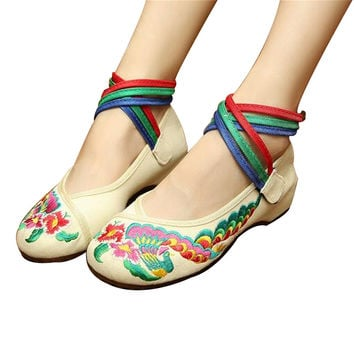 Chinese Embroidered Floral Shoes Women Ballerina Mary Jane Flat Ballet Cotton Loafer White