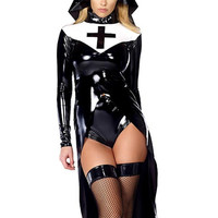 halloween cosplay Fashion Black Women sexy nun costume Vinyl Leather Cosplay Halloween Costume