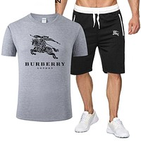 BURBERRY Popular Men Women Casual Print T-Shirt Shorts Set Two-Piece Sportswear Grey