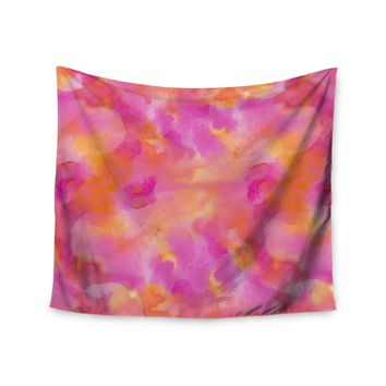 "Danii Pollehn ""Color Explosion"" Pink Orange Watercolor Wall Tapestry"