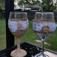Burlap and Lace Wine Glass