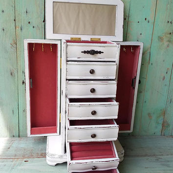 Large Shabby Chic Rustic Wooden Jewelry Box Armoire Painted Antique White Distressed refurbished upcycled