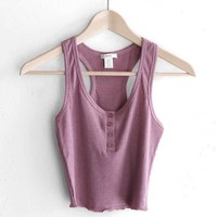 Henley Crop Top - Dusty Mauve