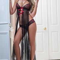 Flaming Lace Gown and Lingerie Set