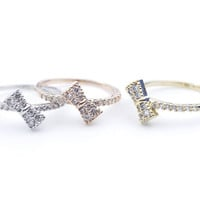 Dainty Tiny Ribbon Bow with CZ crystal stacking ring